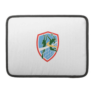 Volleyball Player Spiking Ball Blocking Shield MacBook Pro Sleeves