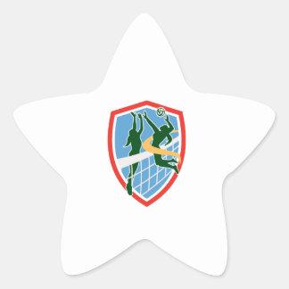 Volleyball Player Spiking Ball Blocking Shield Star Sticker