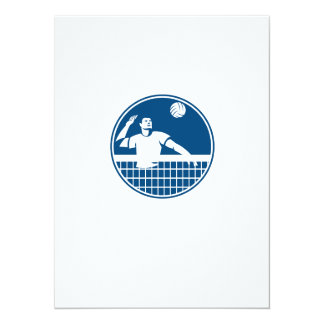 Volleyball Player Spiking Ball Circle Icon 5.5x7.5 Paper Invitation Card