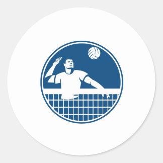 Volleyball Player Spiking Ball Circle Icon Round Sticker
