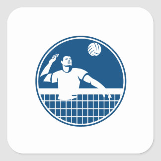 Volleyball Player Spiking Ball Circle Icon Square Sticker