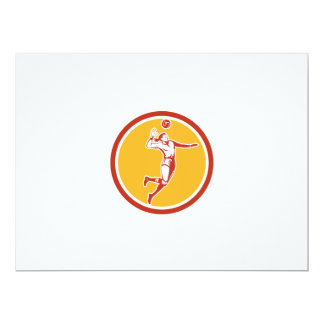 Volleyball Player Spiking Ball Circle Retro 17 Cm X 22 Cm Invitation Card