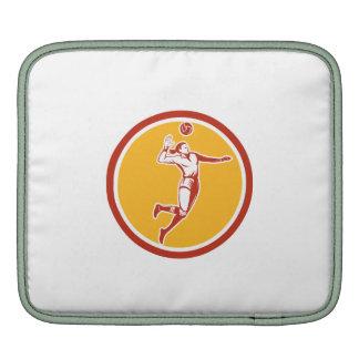 Volleyball Player Spiking Ball Circle Retro iPad Sleeve