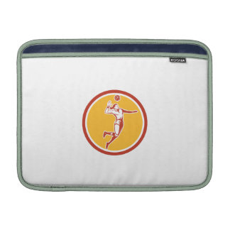 Volleyball Player Spiking Ball Circle Retro MacBook Sleeves