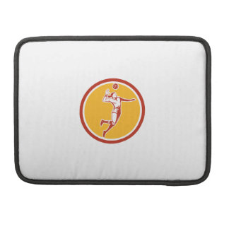 Volleyball Player Spiking Ball Circle Retro MacBook Pro Sleeve