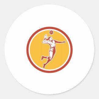 Volleyball Player Spiking Ball Circle Retro Round Sticker
