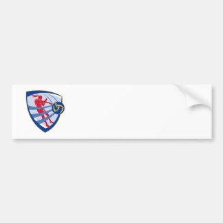 Volleyball Player Spiking Ball Crest Car Bumper Sticker