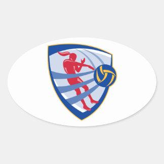 Volleyball Player Spiking Ball Crest Oval Sticker