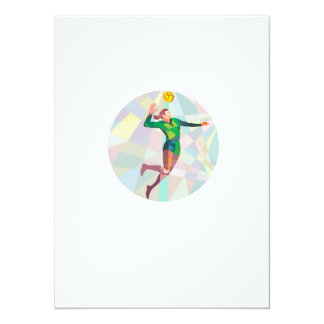 Volleyball Player Spiking Ball Jumping Low Polygon 5.5x7.5 Paper Invitation Card
