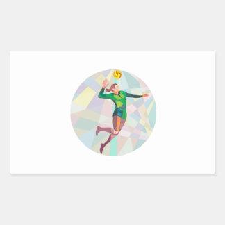 Volleyball Player Spiking Ball Jumping Low Polygon Rectangular Sticker
