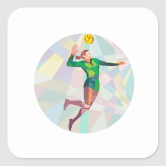 Volleyball Player Spiking Ball Jumping Low Polygon Square Sticker