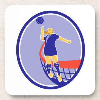 Volleyball Player Spiking Ball Oval Retro Coaster
