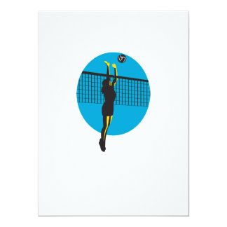Volleyball Player Spiking Ball Retro 5.5x7.5 Paper Invitation Card