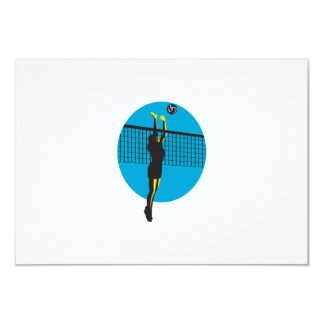 Volleyball Player Spiking Ball Retro Custom Announcement