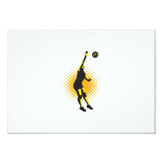 Volleyball Player Spiking Ball Retro Personalized Invitation