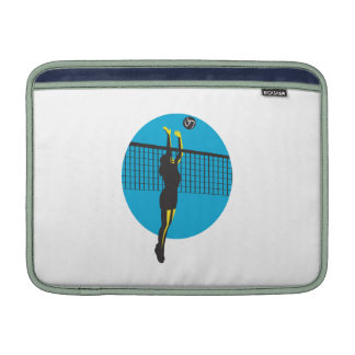 Volleyball Player Spiking Ball Retro MacBook Sleeves