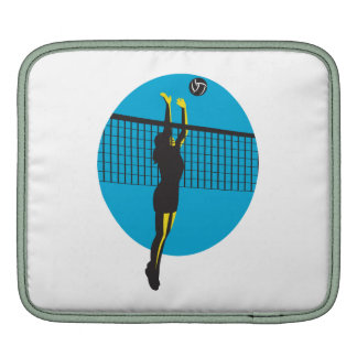 Volleyball Player Spiking Ball Retro Sleeves For iPads