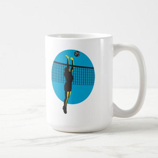 Volleyball Player Spiking Ball Retro Classic White Coffee Mug