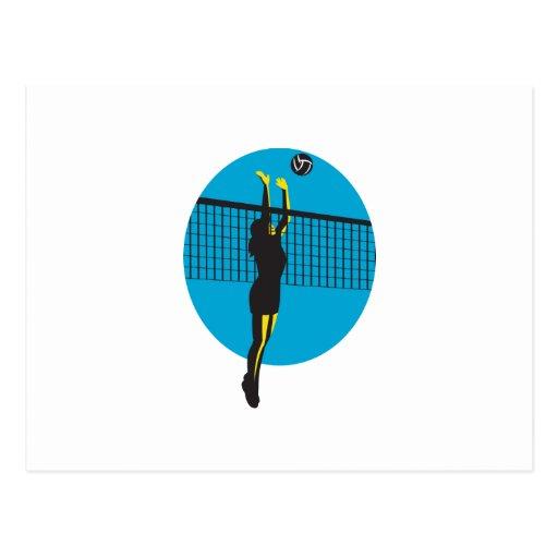 Volleyball Player Spiking Ball Retro Postcard