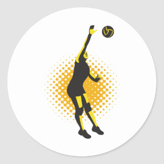 Volleyball Player Spiking Ball Retro Classic Round Sticker