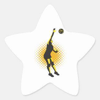Volleyball Player Spiking Ball Retro Star Sticker
