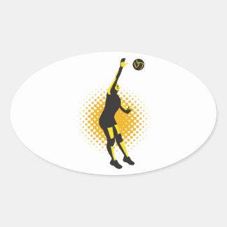 Volleyball Player Spiking Ball Retro Oval Sticker