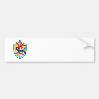 Volleyball Player Spiking Ball Shield Bumper Sticker