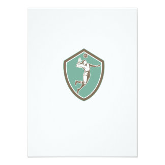 Volleyball Player Spiking Ball Shield Retro 5.5x7.5 Paper Invitation Card