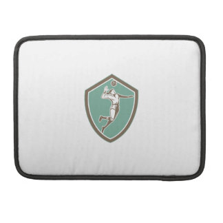 Volleyball Player Spiking Ball Shield Retro Sleeves For MacBooks