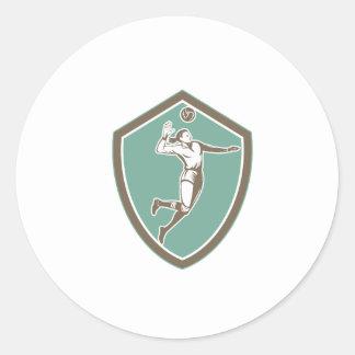 Volleyball Player Spiking Ball Shield Retro Round Sticker