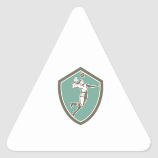Volleyball Player Spiking Ball Shield Retro Triangle Sticker