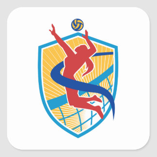Volleyball Player Spiking Ball Shield Square Sticker
