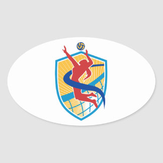 Volleyball Player Spiking Ball Shield Oval Sticker