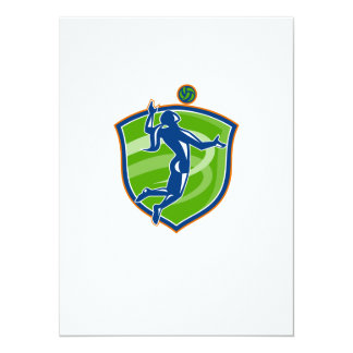 Volleyball Player Spiking Ball Side Shield 5.5x7.5 Paper Invitation Card