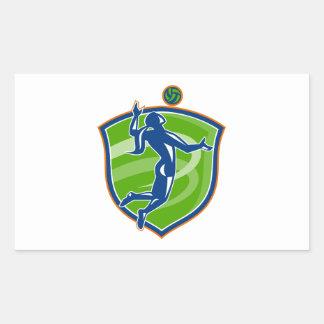 Volleyball Player Spiking Ball Side Shield Rectangular Sticker