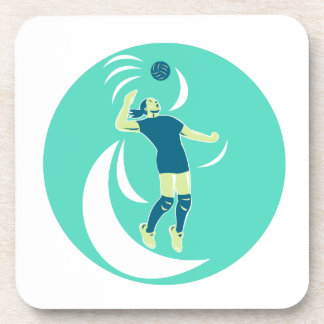 Volleyball Player Spiking High Circle Retro Coaster