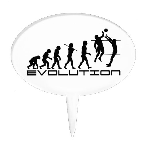 Volleyball Player Sport Evolution Art Cake Pick