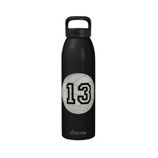 Volleyball Player Uniform Number 13 Water Bottle