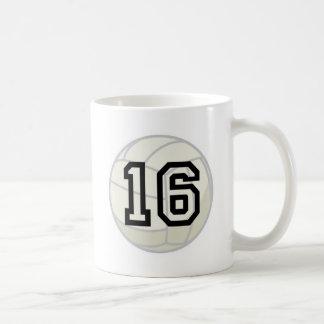 Volleyball Player Uniform Number 16 Gift Coffee Mug