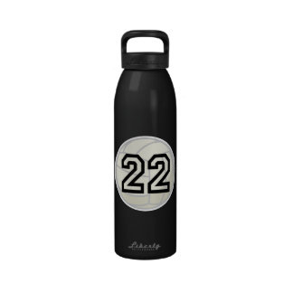 Volleyball Player Uniform Number 22 Water Bottle