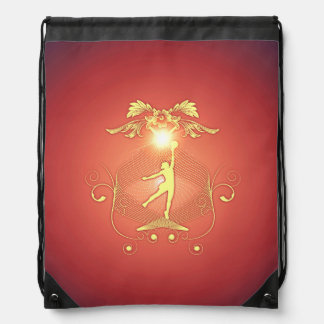 Volleyball player with awesome light effects drawstring backpacks