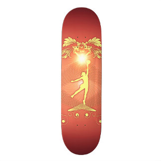Volleyball player with awesome light effects skate board deck