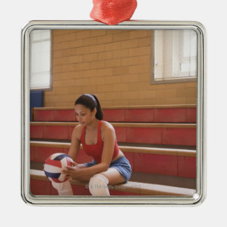 Volleyball player with volleyball metal ornament