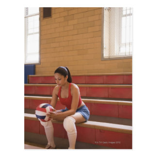 Volleyball player with volleyball postcard