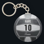 "Volleyball Players Keychain<br><div class=""desc"">Volleyball illustration with custom name. Insert number and team. Elegant black and white Art by Jos&#233; Ricardo</div>"