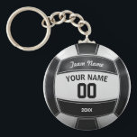 "Volleyball Player&#39;s Name Year Team Black and White Keychain<br><div class=""desc"">Need a unique idea to give to your Team? Personalized Black and White Volleyball design. Insert your Team Name,  Player&#39;s Name,  Jersey Number,  Year. These keychain make a unique team gift.</div>"