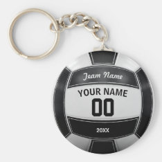Volleyball Player's Name Year Team Black And White Keychain at Zazzle