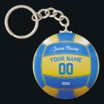 "Volleyball Player&#39;s Name Year Team Blue and Yellow Keychain<br><div class=""desc"">Need a unique idea to give to your Team? Personalized Blue and Yellow Volleyball design. Insert your Team Name,  Player&#39;s Name,  Jersey Number,  Year. These keychain make a unique team gift.</div>"