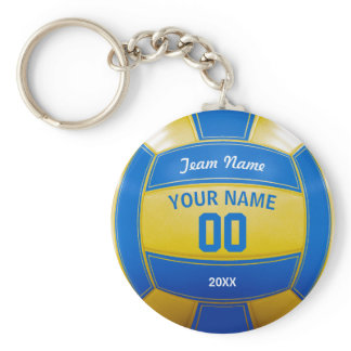 Volleyball Player's Name Year Team Blue and Yellow Keychain