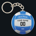 "Volleyball Player&#39;s Name Year Team Blue Keychain<br><div class=""desc"">Need a unique idea to give to your Team? Personalized Blue and White Volleyball design. Insert your Team Name,  Player&#39;s Name,  Jersey Number,  Year. These keychain make a unique team gift.</div>"